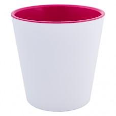 """Вазон """"Деко"""" 13 * 12,5 см (белый / розовый)"""