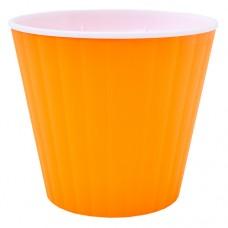"""Горшок """"Ибис"""" двойной. 13,0*11,2см. (оранжевый/белый)"""