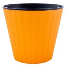 """Горшок """"Ибис"""" двойной. 13,0*11,2см. (оранжевый/черный)"""