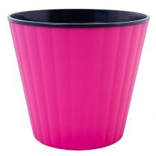"""Горшок """"Ибис"""" двойной. 13,0*11,2см. (розовый/черный)"""
