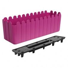 """Вазон """"Парканчик"""" балконний зі вст. 49*16,5см. (рожевий)"""