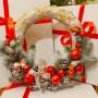 Новогодний, рождественский венок соломенный с шишками