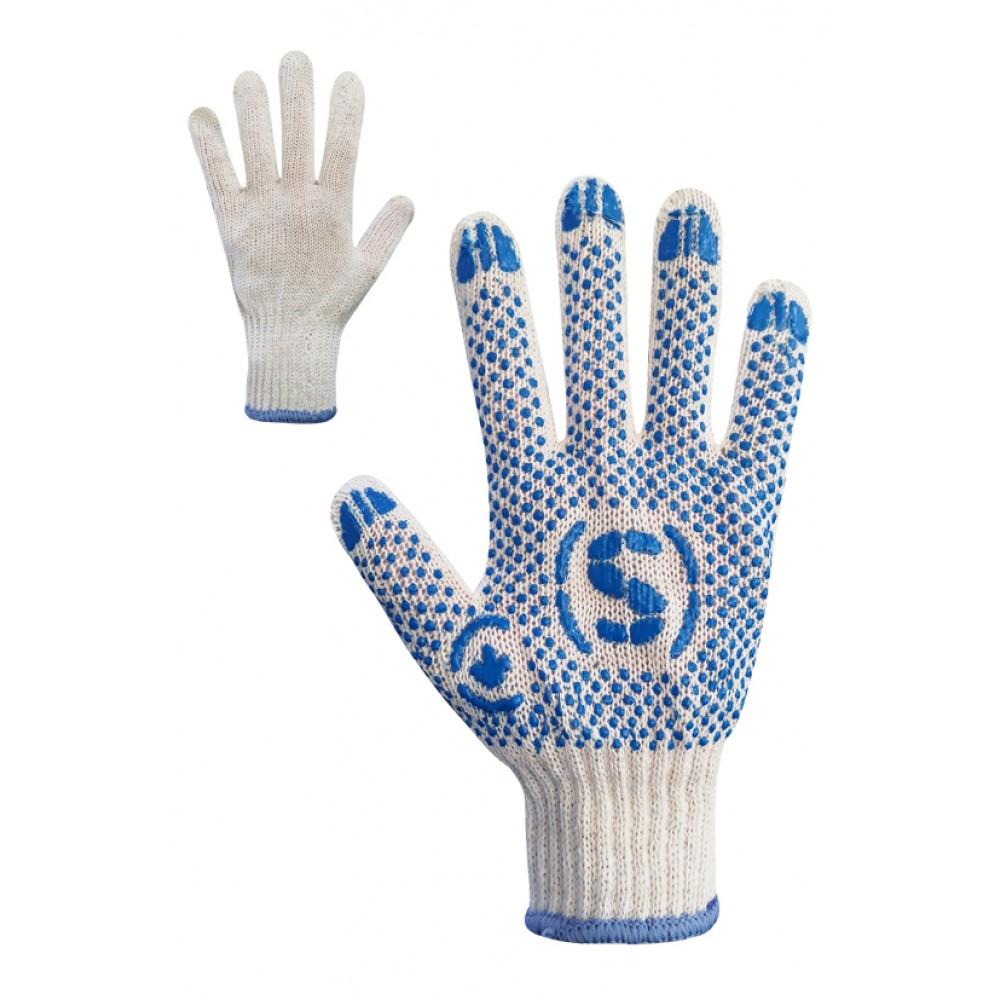 Перчатки трикотажные белые с ПВХ точкой Размер 9