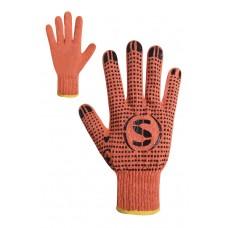 Рукавички трикотажні помаранчеві з ПВХ крапкою Розмір 10
