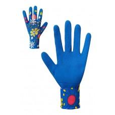 Рукавички жіночі синтетичні сині з латексним покриттям Розмір 8